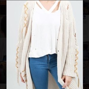 POL cream distressed cardigan lace up detail M